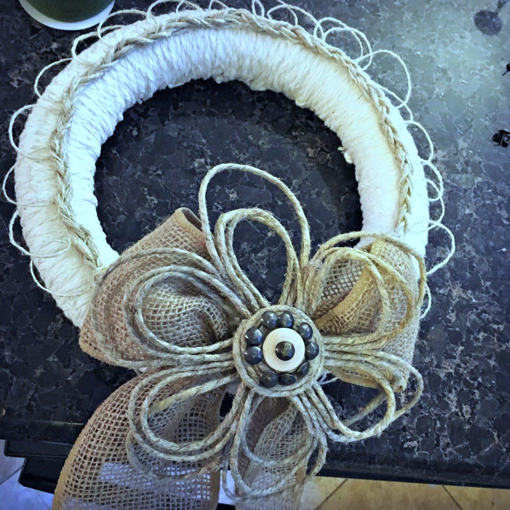 door wreaths - add rope and burlap ribbon