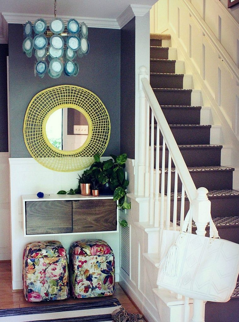 Pendant Lighting-Colorful modern budget foyer makeover