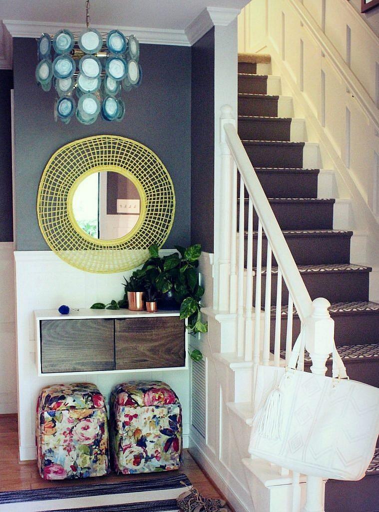 Pendant Lighting-Colorful modern budget foyer makeover