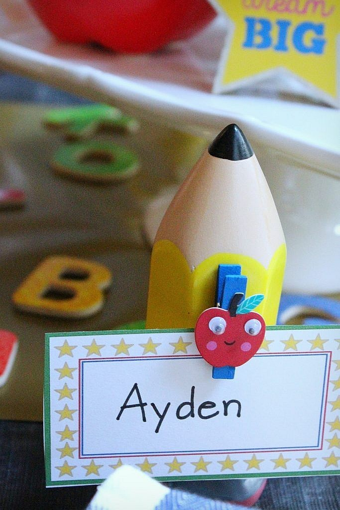Back to School party table - place card pencil