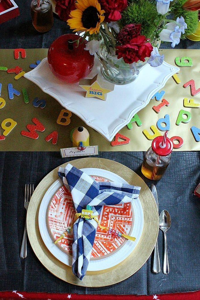 Back to School party table - place setting