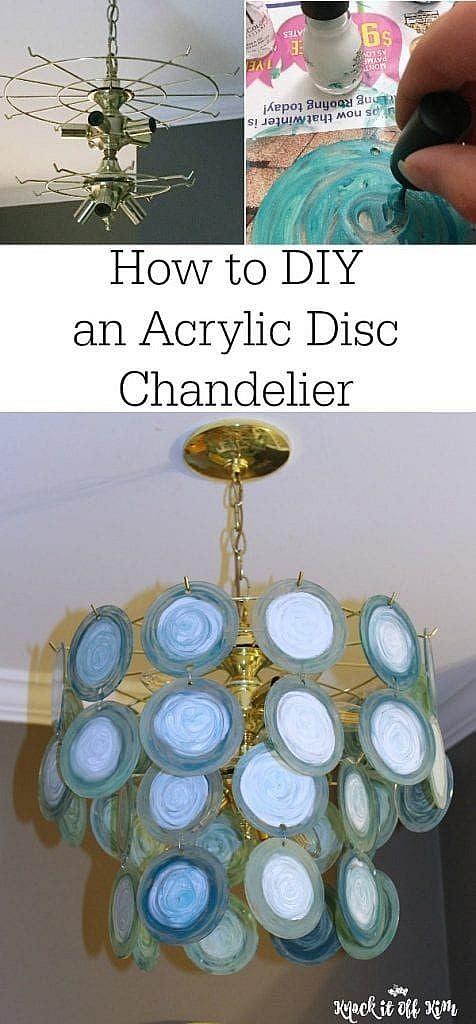DIY acrylic disc chandelier