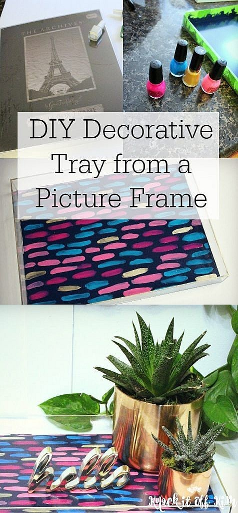 diy decorative tray from picture frame