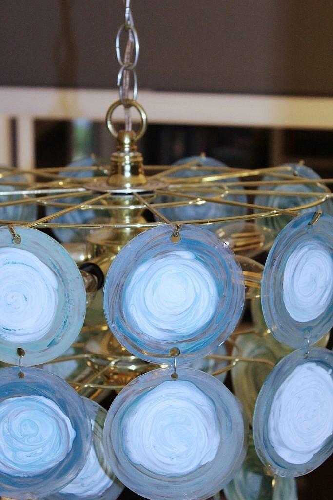 glass panel chandelier makeover