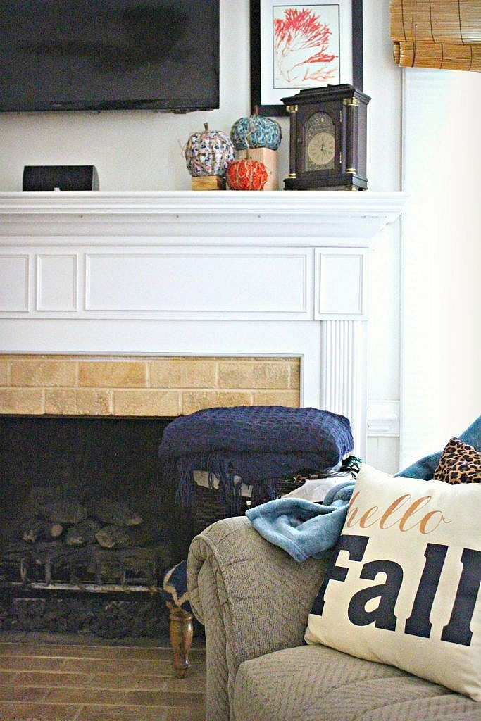 fireplace decor ideas - fall pillows