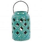 fall mantle ideas - turquoise lantern