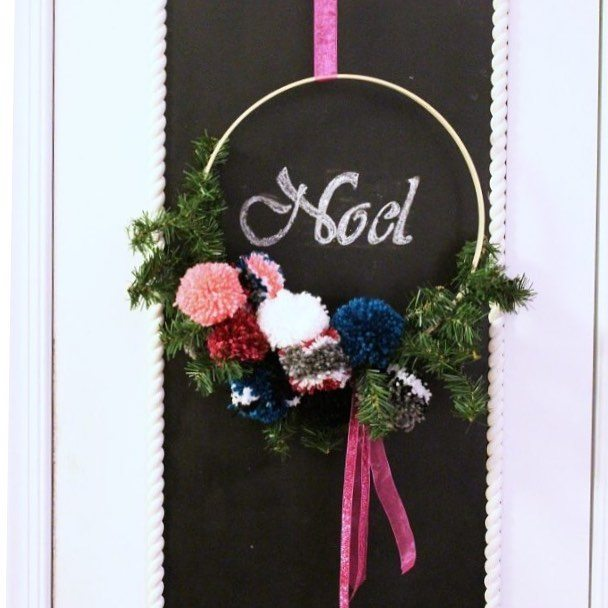This festive popPom wreath was a snap to make andhellip