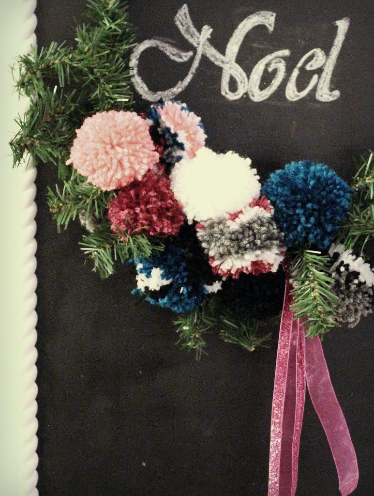 hoop wreath - pompoms