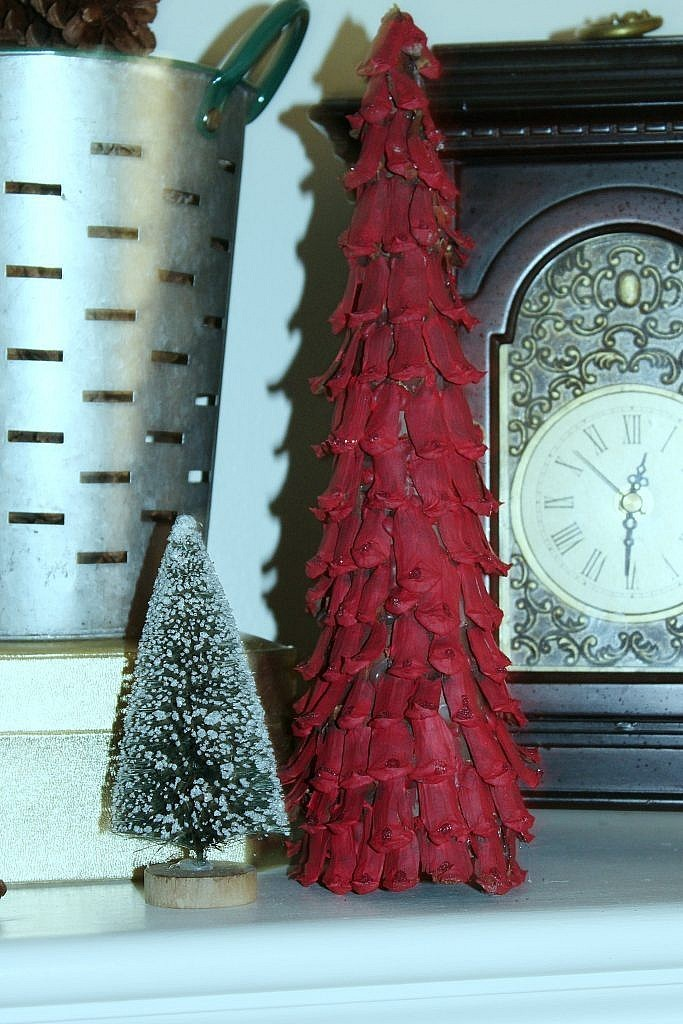 Christmas Fireplace-Pinecone trees 1