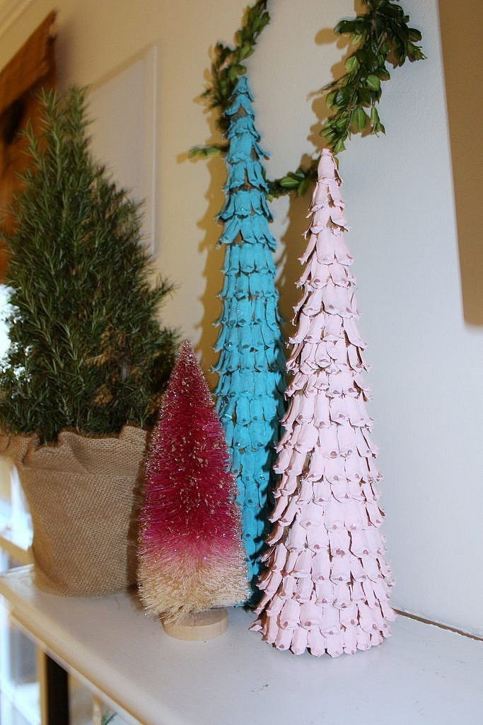 Christmas Fireplace-Pinecone trees 2