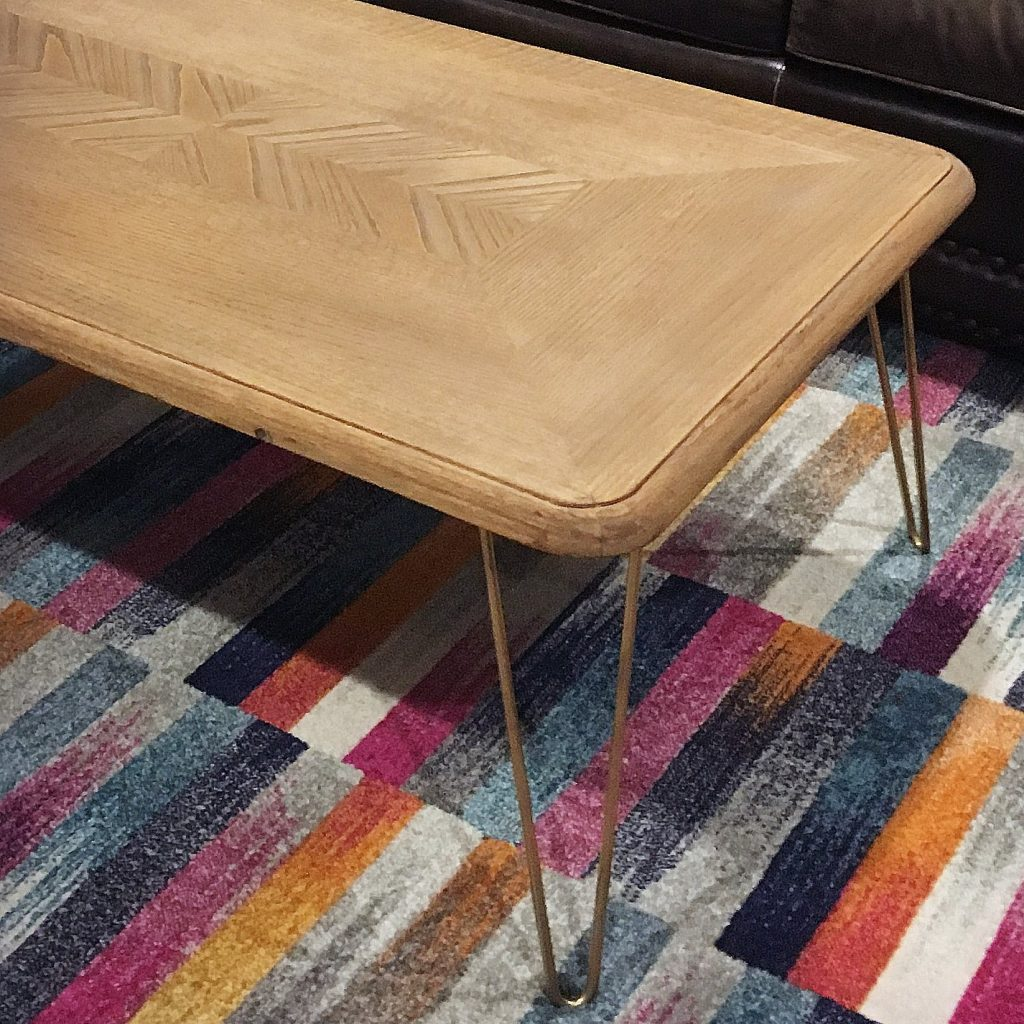 How to make a modern hairpin leg coffee table for under for Coffee table under 50