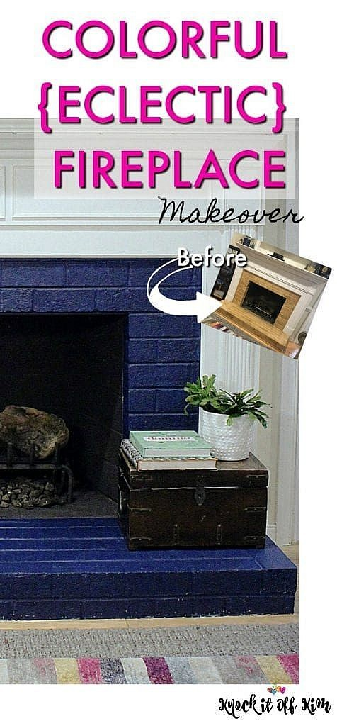 painted brick fireplace - Pin
