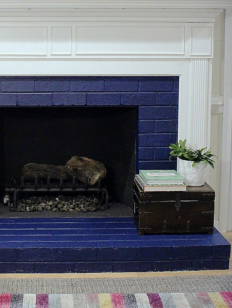 painted brick fireplace - cute accents