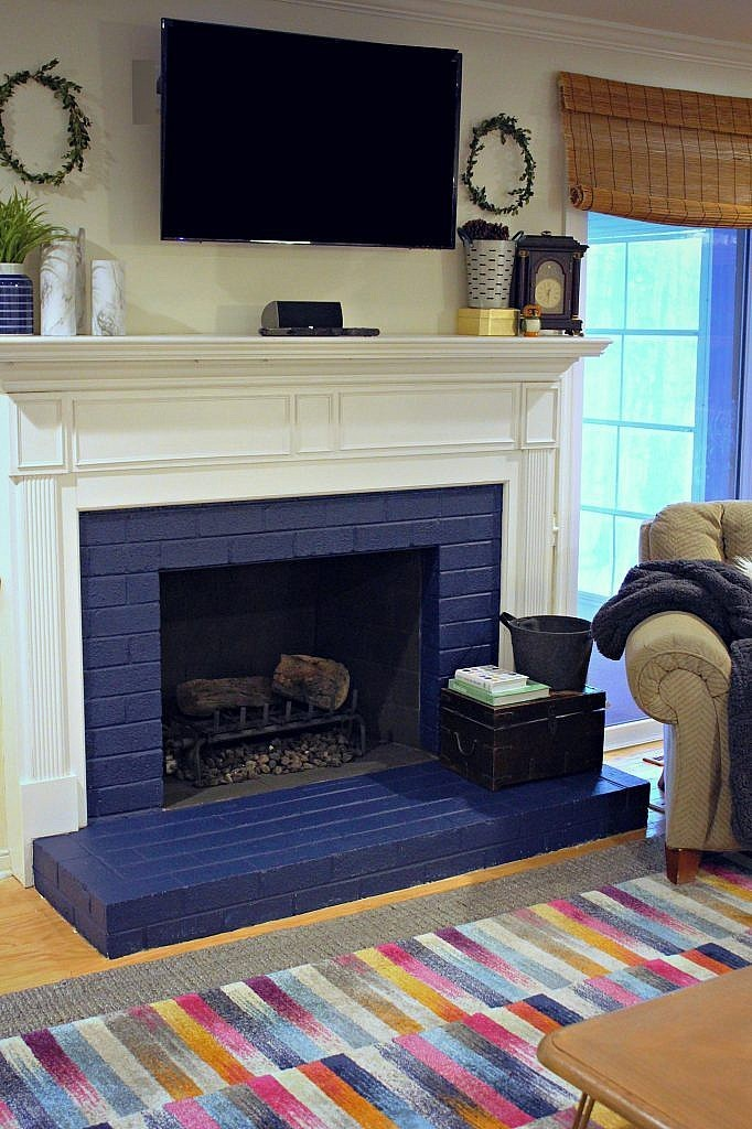 painted brick fireplace - side view