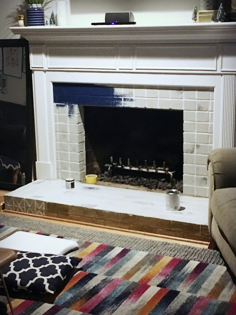 painted brick fireplace - testing