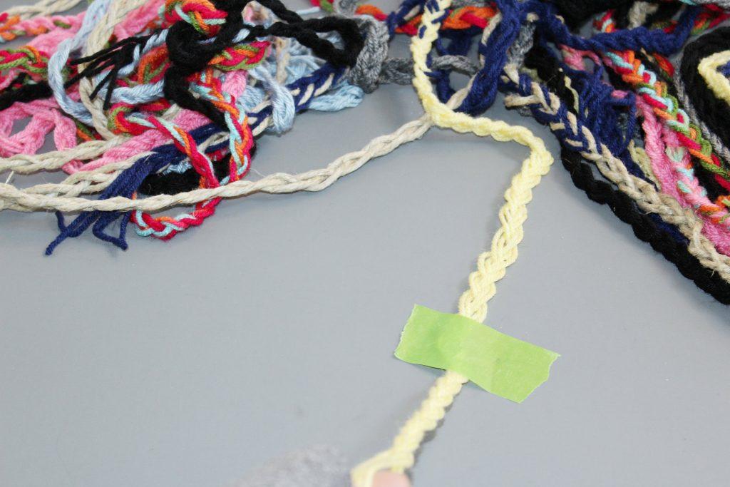 Braided Pom Pom Rug-braid lots of strands