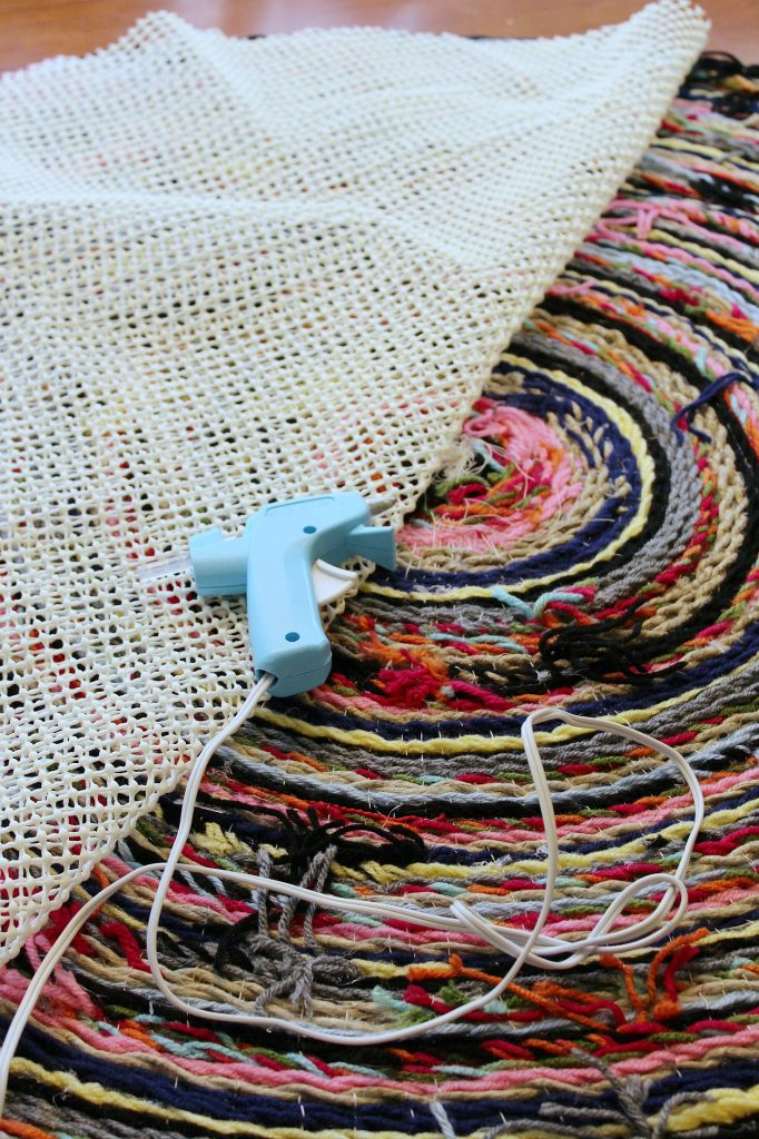 Braided Pom Pom Rug-cut and glue backing