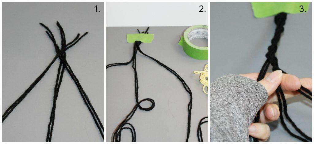 Braided Pom Pom Rug-separate and braid