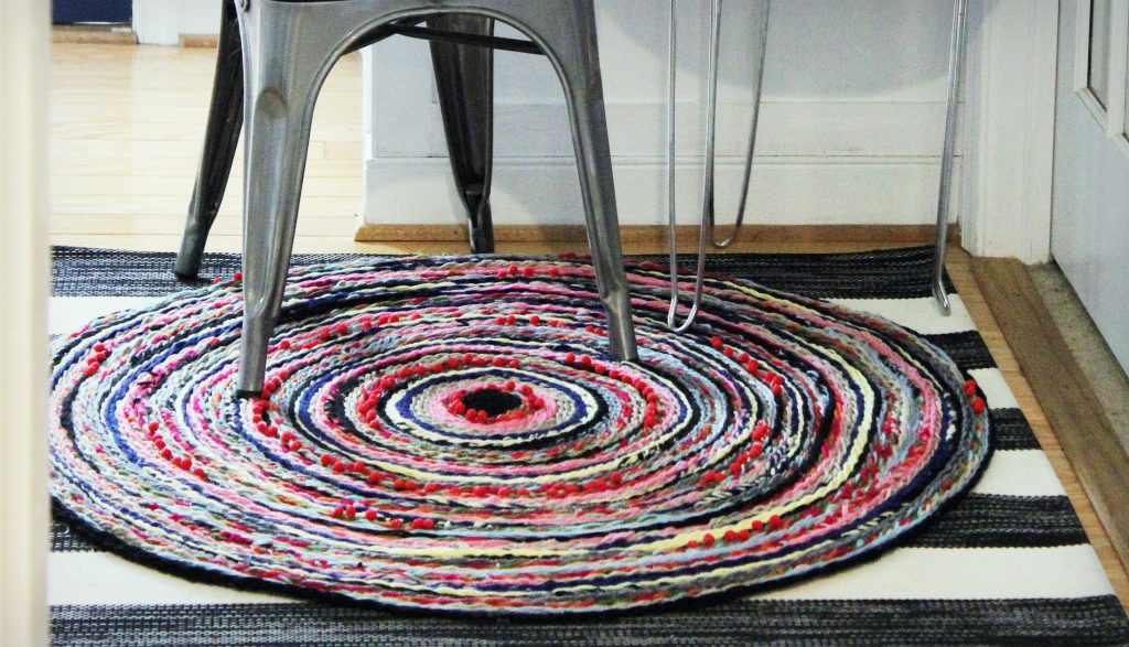 Braided Pom Pom Rug-whole rug