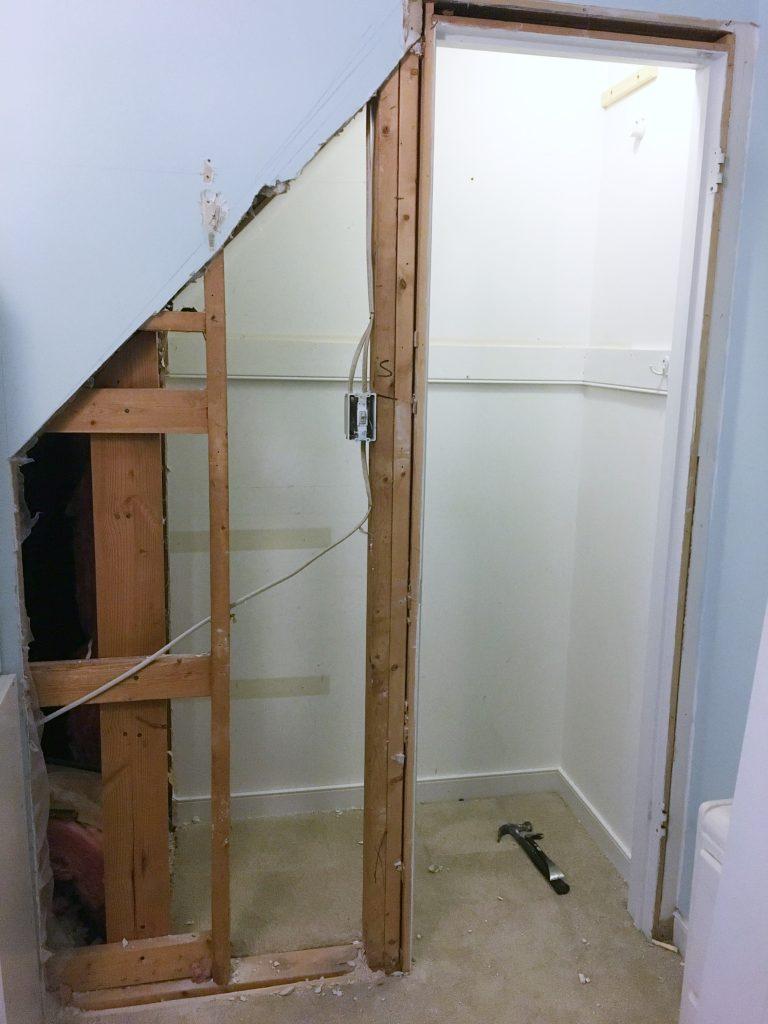 closet bed nook - cut wall