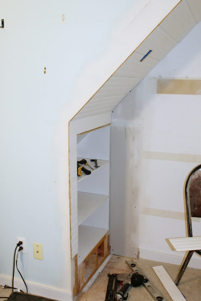 closet bed nook - install bead board