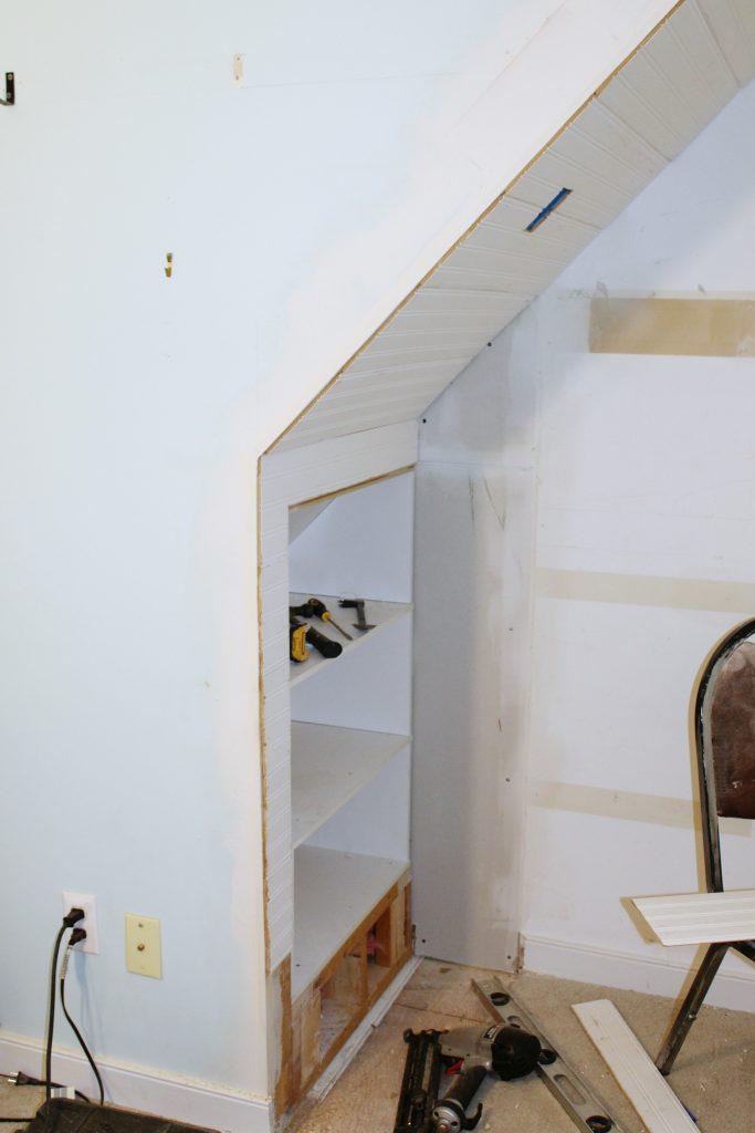 closet bed nook - install bead board