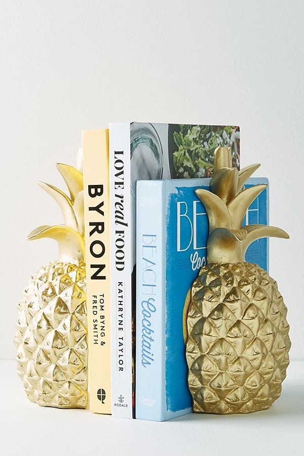 pineapple home decor - Gold Pineapple Bookends