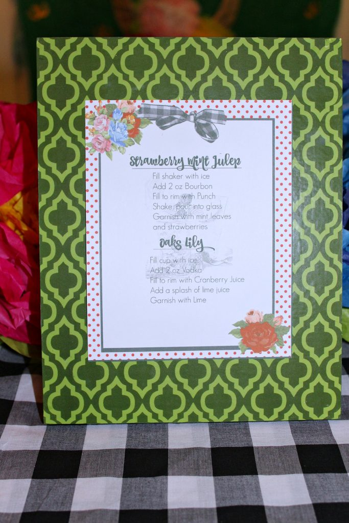 Kentucky Derby Party - drink recipe card