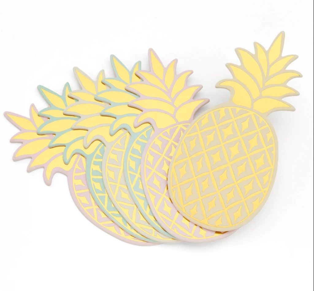 pineapple home decor - Pastel Pineapple Coasters
