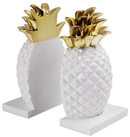 pineapple home decor - Pineapple Bookends