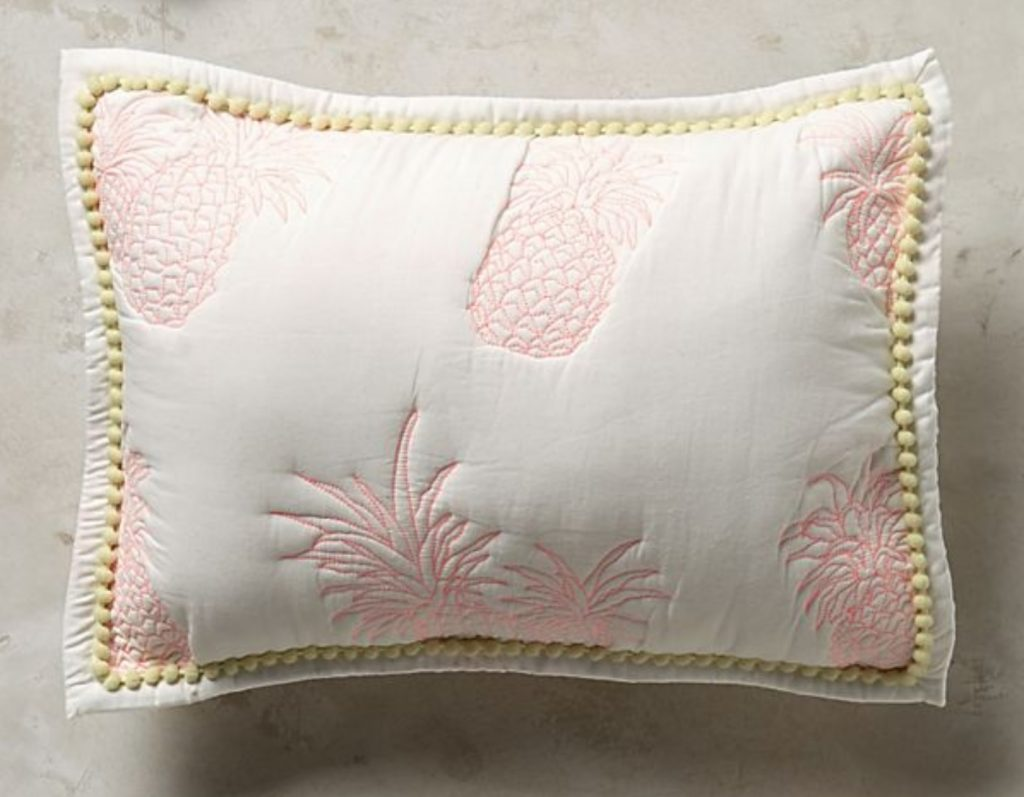 pineapple home decor - Pineapple Embroidered Pillow Sham