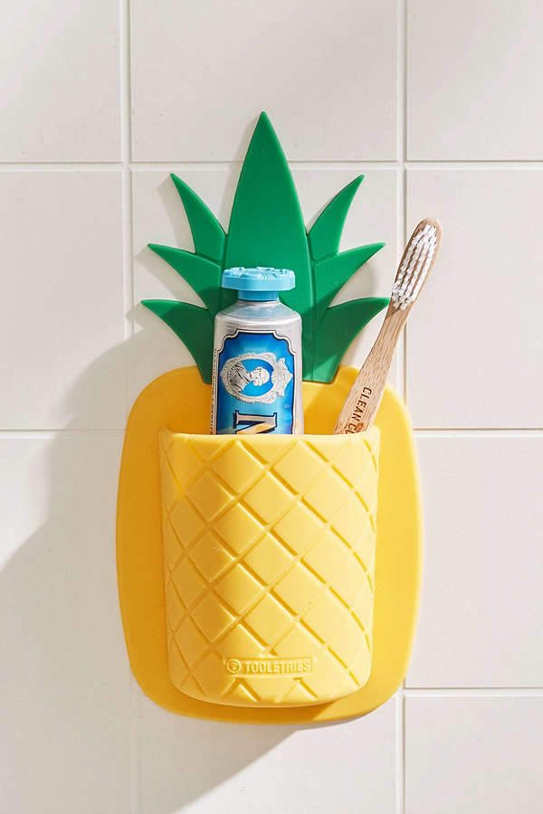 pineapple home decor - Pineapple Toothbrush Holder