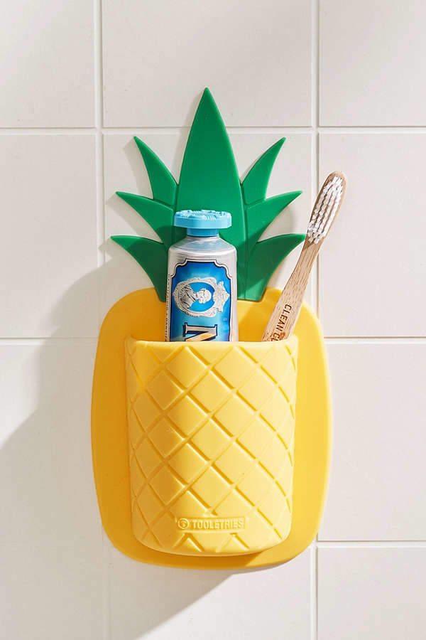 pineapple home decor - Pineapple Toothbrush Holder