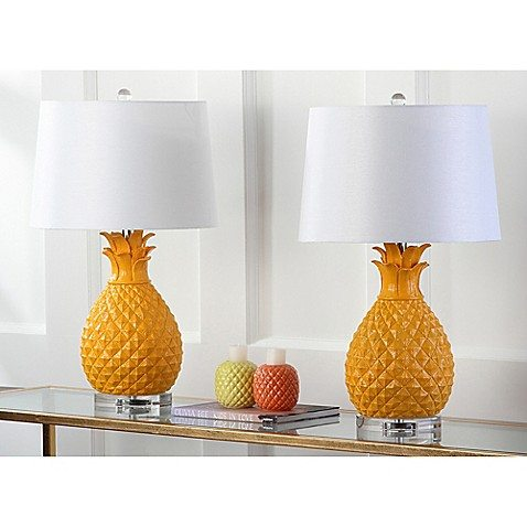 pineapple home decor - yellow pineapple lamp