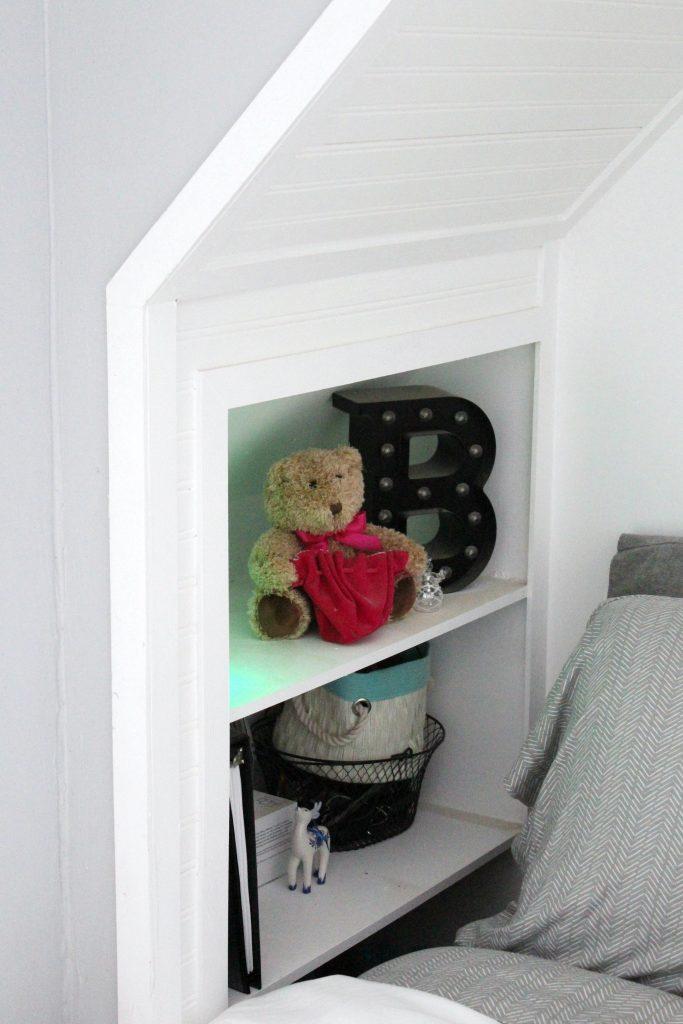 boho bedroom - bed nook bookcase
