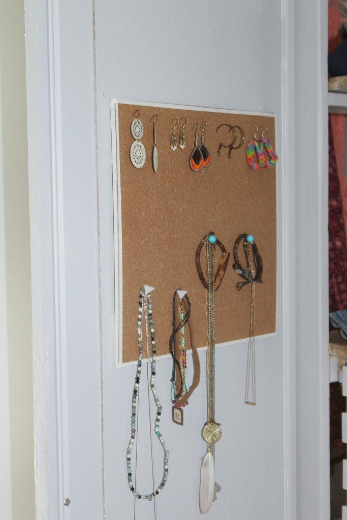 boho bedroom - closet door jewelry