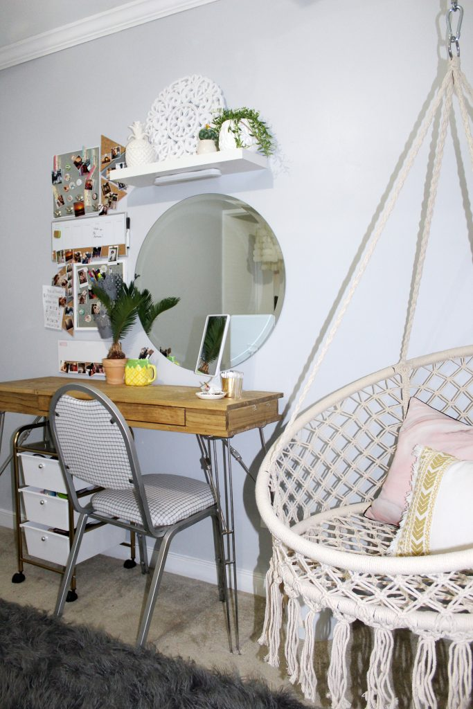 boho bedroom - desk area from chair