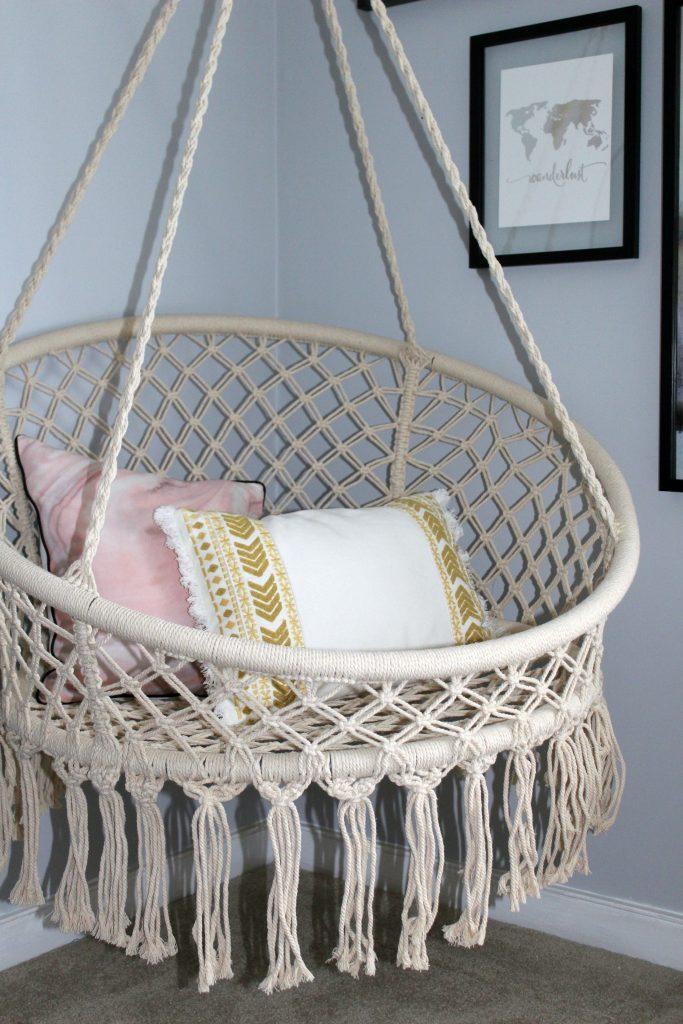 boho bedroom - hanging chair