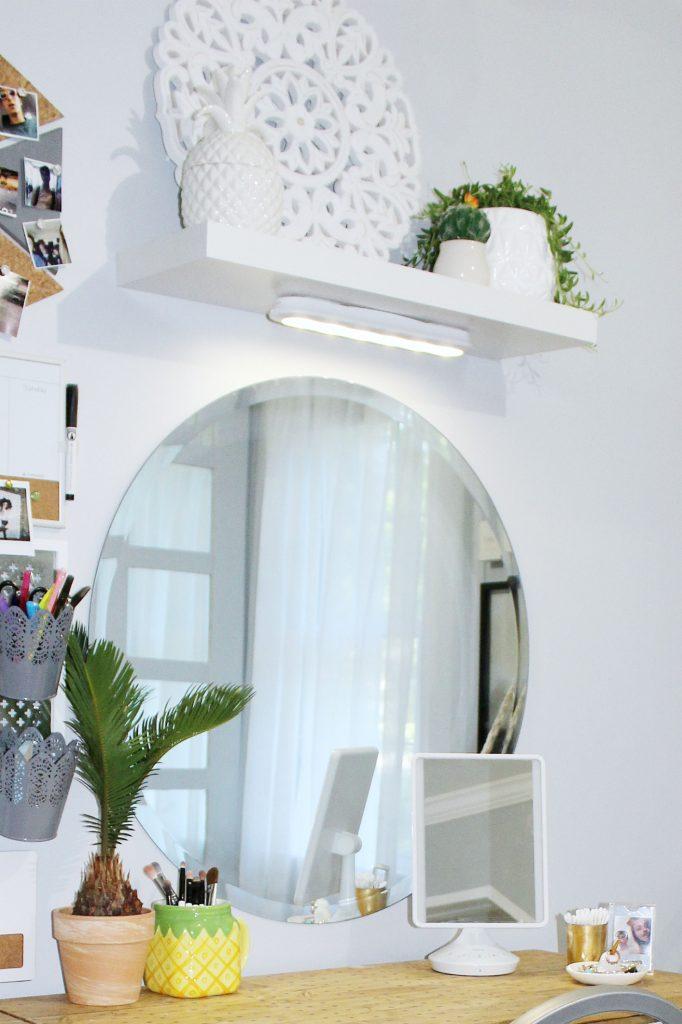 boho bedroom - under cabinet lighting