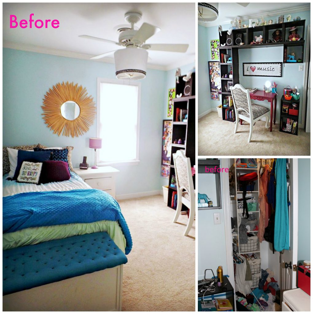 glam bohemian teen room - before
