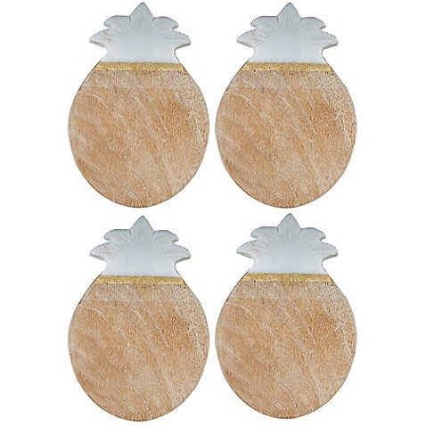 pineapple home decor - wood and marble coasters