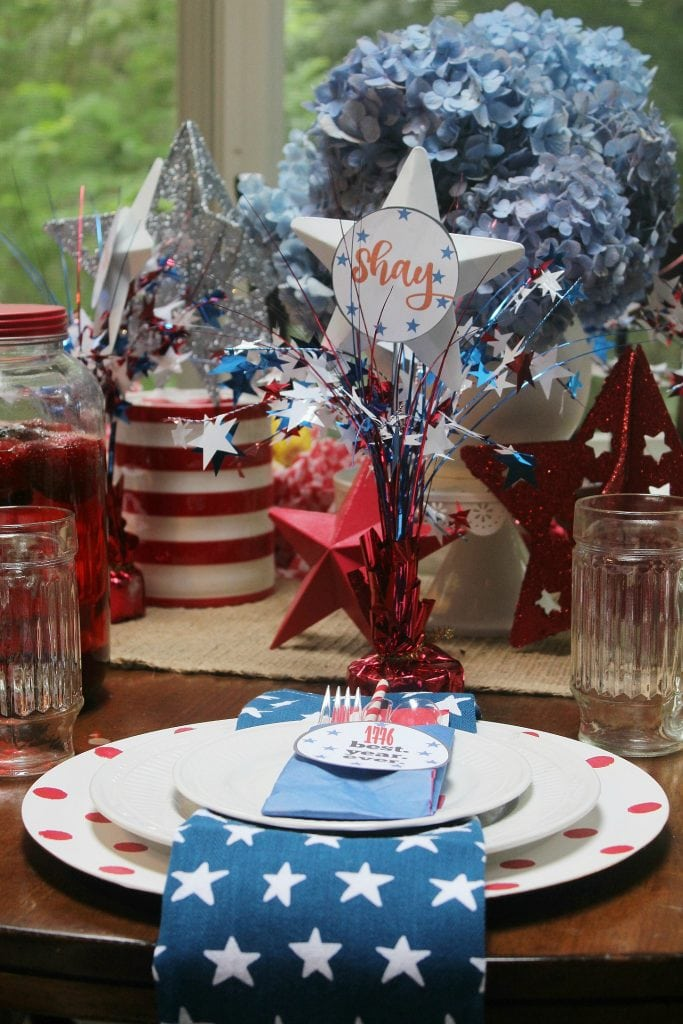 red white and blue - place cards