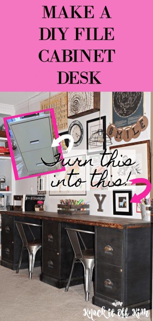 Filing Cabinet Desk DIY