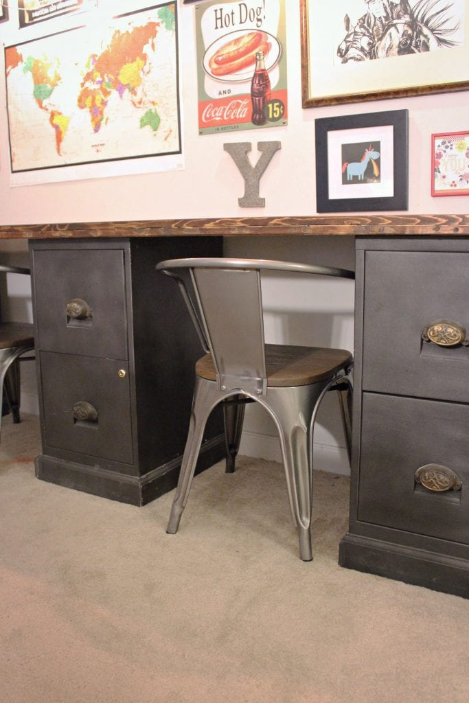 desk made from old metal file cabinets