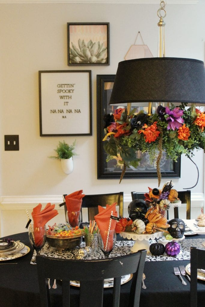 diy floral chandelier halloween