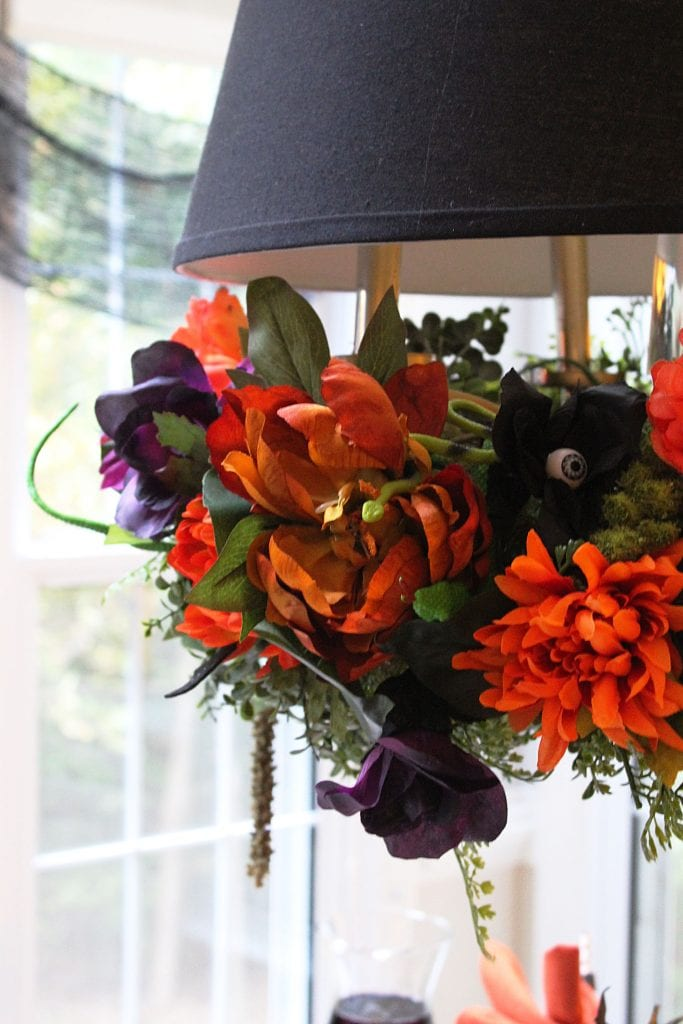 diy halloween floral chandelier