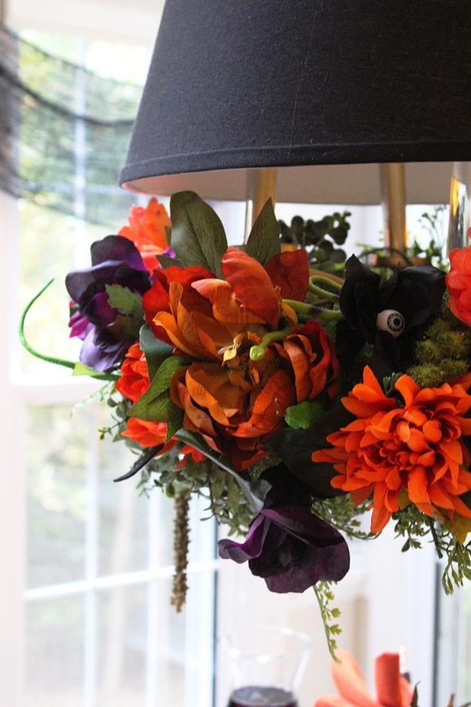 diy halloween floral chandelier