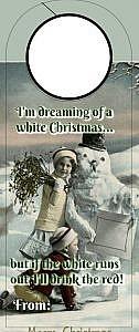 Christmas Wine tag - white christmas
