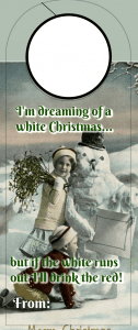 Christmas Wine tag - white christmas
