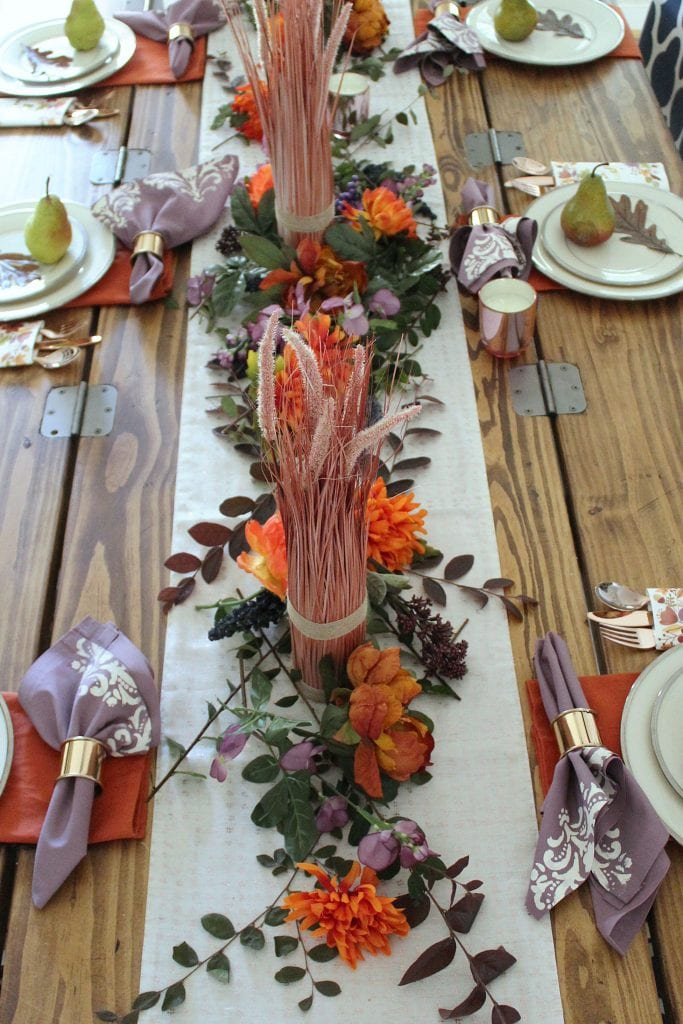 thanksgiving table and diy stencil napkins